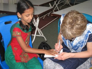 Tracing Tanjida's hand